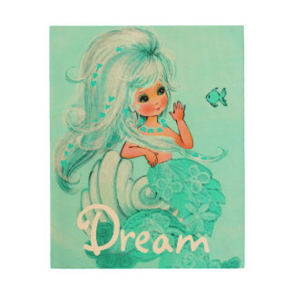 Pastel Aqua Mermaid Wood Wall Art Dream