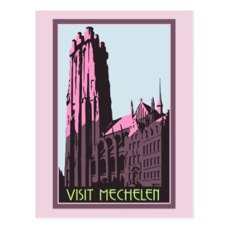 Pastel art deco visit Mechelen Belgium travel ad Postcard