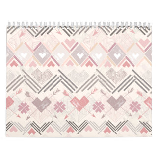 Pastel Aztec Soft Geometric Pink Girly Wall Calendars