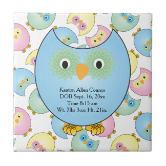 Pastel Baby Owl Nursery Theme in Blue Tile