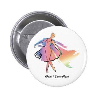 Pastel Ballerina (Personalized_ 6 Cm Round Badge