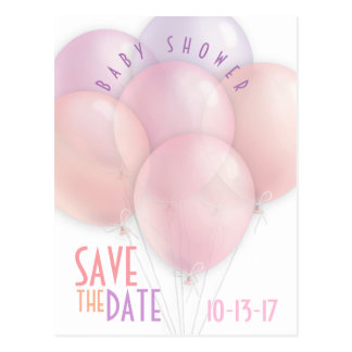 Pastel Balloons Baby Shower Save the Date Postcard