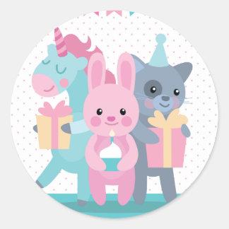 Pastel birthday wish with cartoon illustration round sticker