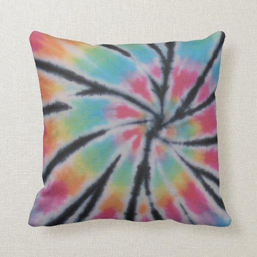 Pastel Black Stripe Tie Dye American MoJo Pillows