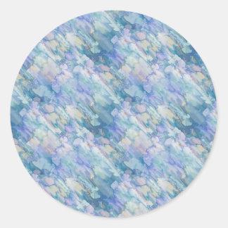 Pastel Blue Abstraction Round Sticker