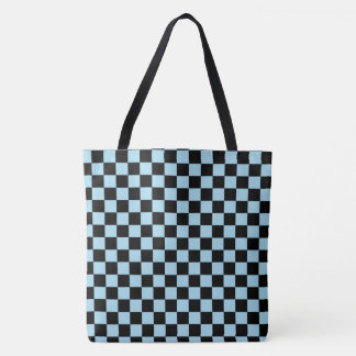 Pastel Blue And Black Checkered Pattern Tote Bag