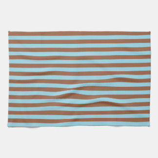Pastel Blue and Brown Stripes Tea Towel