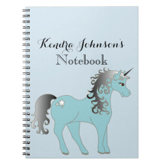 Pastel Blue and Gray Unicorn | Personalized Notebooks
