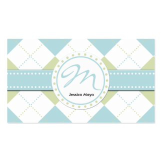 Pastel Blue and Green Checker Patterns Business Card Templates