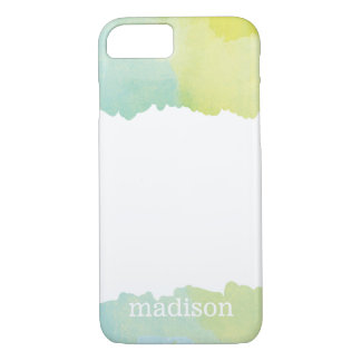 Pastel Blue and Green Watercolor Monogrammed iPhone 8/7 Case