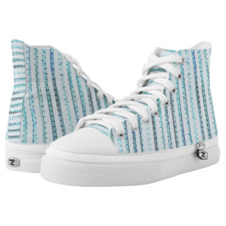 Pastel blue and opal lines high tops