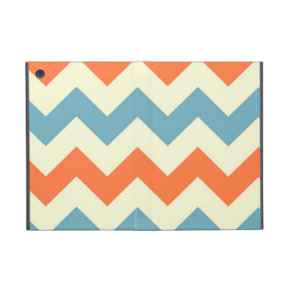 Pastel Blue and Orange Chevron Stripes Zig Zags iPad Mini Case