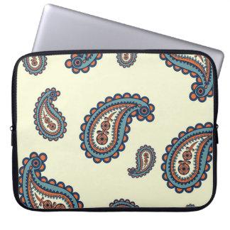 Pastel Blue and Orange Paisley Pattern Laptop Sleeve