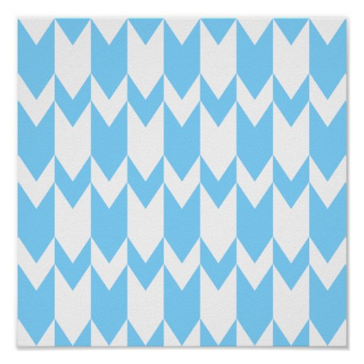 Pastel Blue and White Chevron Pattern. Posters