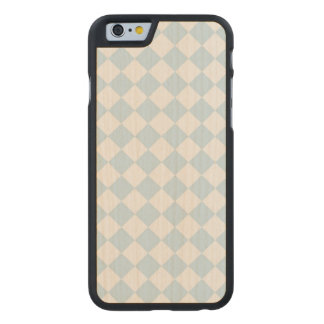 Pastel Blue and White Diamond Checkered Pattern Carved® Maple iPhone 6 Slim Case