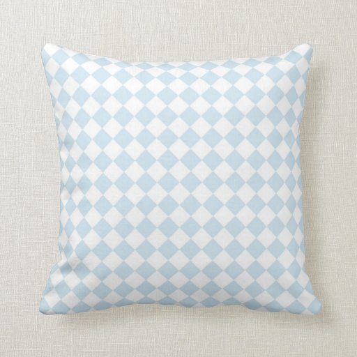 Pastel Blue and White Diamond Checkered Pattern Pillows