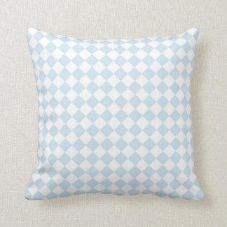 Pastel Blue and White Diamond Checkered Pattern Throw Pillow