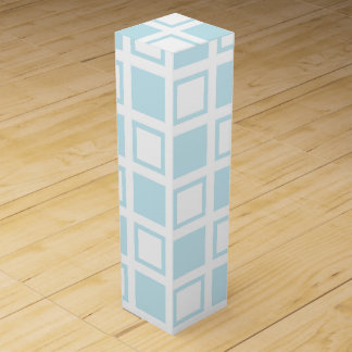 Pastel Blue and White Squares Wine Box