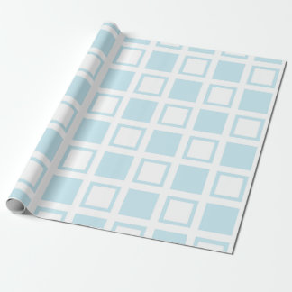 Pastel Blue and White Squares Wrapping Paper