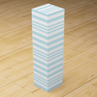 Pastel Blue and White Stripes X 3 Wine Gift Box