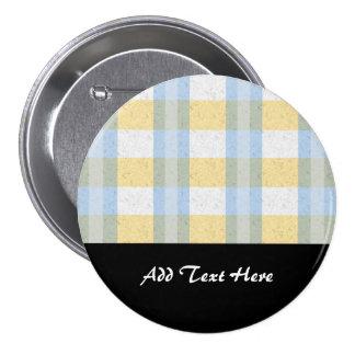 Pastel Blue and Yellow Plaid Pattern Pin