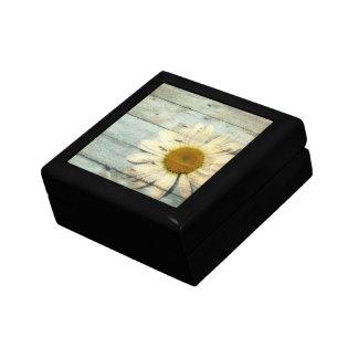 pastel blue barnwood country daisy wedding gift box