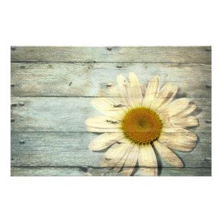 pastel blue barnwood country daisy wedding stationery