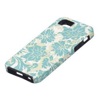 Pastel Blue Beige & White Vintage Floral Design iPhone 5 Covers