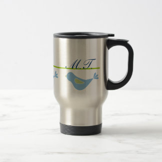 Pastel Blue Bird Monogrammed Travel Mug