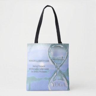 Pastel Blue Calming Yoga Hourglass Gratitude Tote Bag