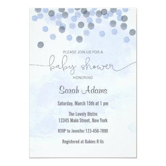 Pastel Blue Confetti Baby Shower Invitation