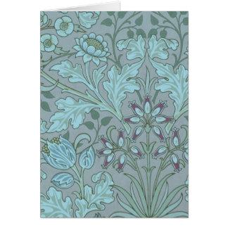 Pastel Blue Decorative Flowers Greeting Card