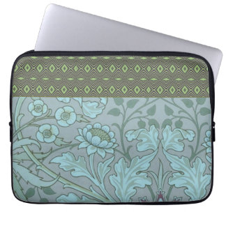 Pastel Blue Decorative Flowers Laptop Computer Sleeves