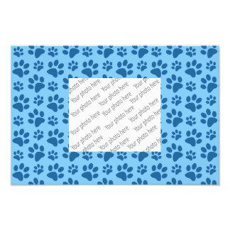 Pastel blue dog paw print pattern photographic print