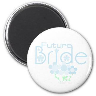 Pastel Blue Flowers Future Bride 6 Cm Round Magnet