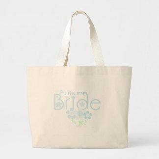 Pastel Blue Flowers Future Bride Large Tote Bag