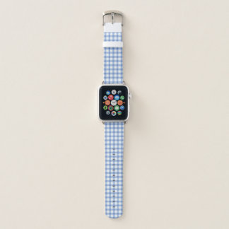 Pastel Blue Gingham Check Pattern Apple Watch Band