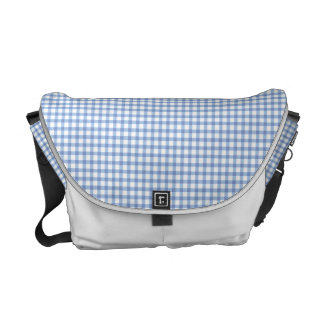 Pastel Blue Gingham Check Pattern Commuter Bag
