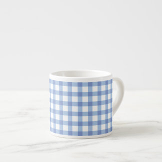 Pastel Blue Gingham Check Pattern Espresso Cup