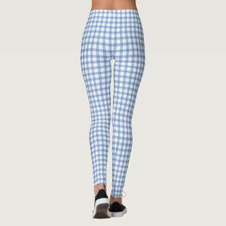 Pastel Blue Gingham Check Pattern Leggings