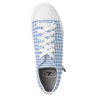 Pastel Blue Gingham Check Pattern Low Tops