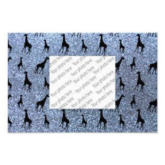 Pastel blue giraffe glitter pattern photo