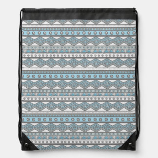 Pastel Blue Girly Trendy Aztec Drawstring Backpack