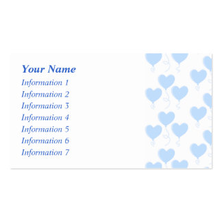 Pastel Blue Heart Balloon Pattern. Business Card Templates