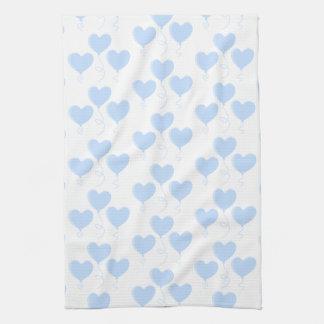 Pastel Blue Heart Balloon Pattern. Hand Towel