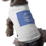 Pastel Blue Keep Calm and Carry On Sleeveless Dog Shirt