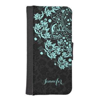 Pastel Blue Lace Black Damasks Background iPhone SE/5/5s Wallet Case