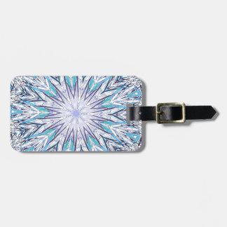 Pastel Blue Lavender White Snowflake Mandala Luggage Tag