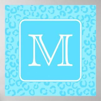 Pastel Blue Leopard Print Custom Monogram