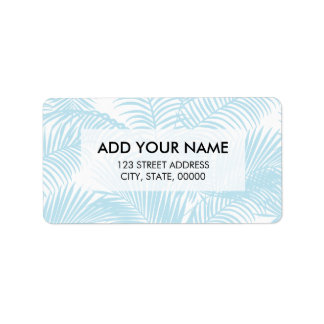 Pastel blue modern simple tropical palm tree flora address label
